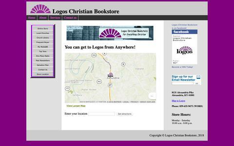 Screenshot of Maps & Directions Page logosbookstorenky.com - Map to Logos Christian Bookstore - captured Oct. 22, 2018