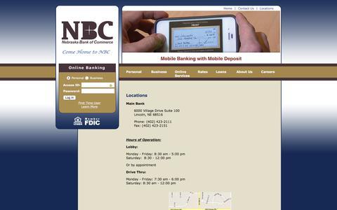 Screenshot of Locations Page thenbcbank.com - The Nebraska Bank of Commerce - Locations - captured Nov. 8, 2017