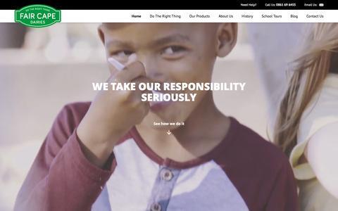 Screenshot of Home Page faircape.com - Fair Cape Dairies | We Do The Right Thing - captured Nov. 24, 2016