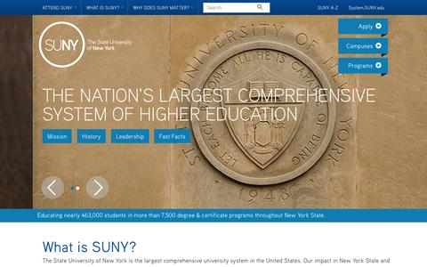 Screenshot of About Page suny.edu - What is SUNY? - SUNY - captured Sept. 23, 2014