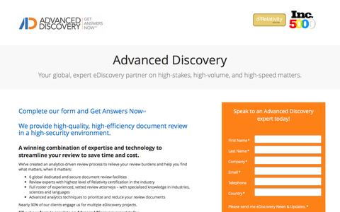 Screenshot of Landing Page advanceddiscovery.com - Advanced Discovery - High quality, high efficiency document review - captured May 15, 2017