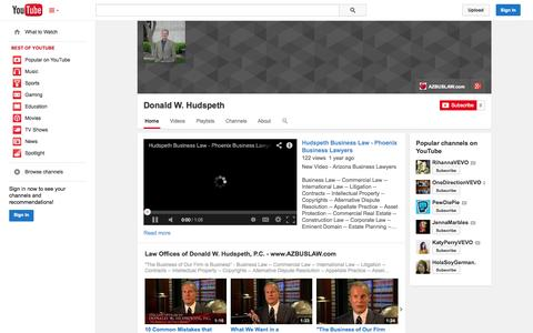 Screenshot of YouTube Page youtube.com - Donald W. Hudspeth  - YouTube - captured Nov. 5, 2014