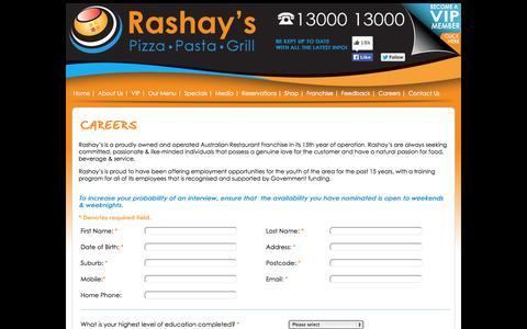Screenshot of Jobs Page rashays.com - Careers - Rashay's Pizza Pasta Grill Restaurant - Sydney Australia - captured Oct. 26, 2014