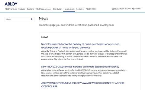 Screenshot of Press Page abloy.com - News & Media - Abloy Oy - captured Nov. 30, 2019