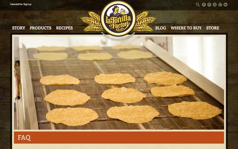 Screenshot of FAQ Page latortillafactory.com - FAQ - La Tortilla Factory - captured Sept. 27, 2014