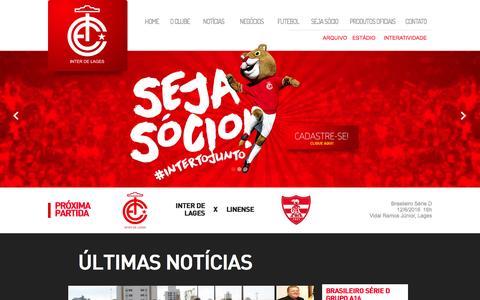 Screenshot of Home Page interdelages.com.br - Internacional de Lages - 2016! Vamos Leão Baio! - captured May 20, 2016