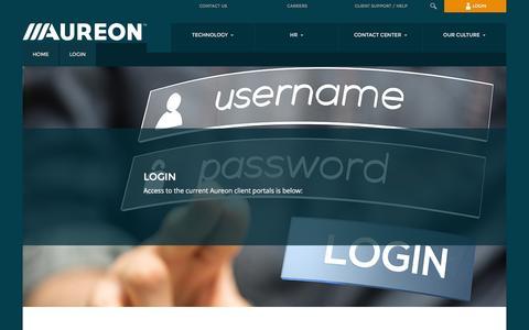 Screenshot of Login Page aureon.com - Login | Aureon - captured July 4, 2016