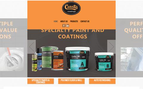 Screenshot of Home Page cansto.com - Cansto Coatings - captured Oct. 1, 2014