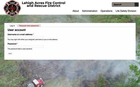 Screenshot of Login Page lehighfd.com - User account | Lehigh Acres Fire control & Rescue District - captured Sept. 28, 2018