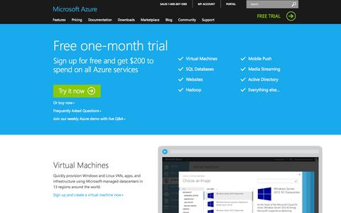 Screenshot of Trial Page microsoft.com - Microsoft Azure Free Trial: Try Azure | Azure Free Trial - captured Oct. 28, 2014