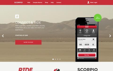 Screenshot of Home Page ridescorpio.com - Scorpio   Motorcycle Alarms - captured Sept. 24, 2014