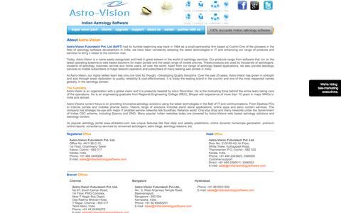 Screenshot of About Page indianastrologysoftware.com - Astro-Vision - The trendsetters in Vedic Astrology Software - captured Sept. 18, 2014