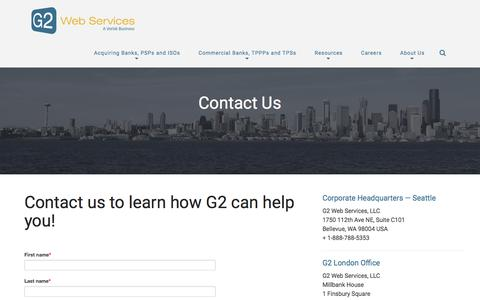 Screenshot of Contact Page g2webservices.com - Contact Us | G2 Web Services - captured July 2, 2018