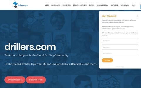 Screenshot of Home Page drillers.com - Drillers - Drilling Jobs & Professional Support for the Global Drilling Community - captured Oct. 13, 2017