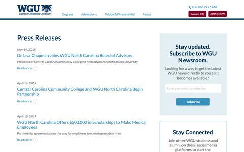 Screenshot of Press Page wgu.edu - Press Releases | WGU North Carolina - captured May 27, 2019