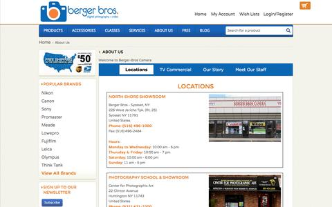 Screenshot of About Page Locations Page berger-bros.com - About Us - Berger Brothers - captured Nov. 22, 2016