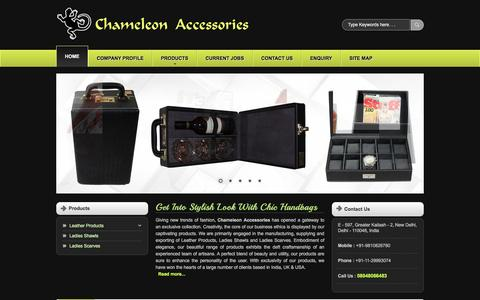 Screenshot of Home Page chameleonaccessories.net - Genuine Leather Handbags,Ladies Leather Handbags Exporters India - captured June 15, 2016