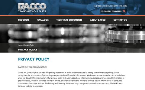 Screenshot of Privacy Page daccoinc.com - Privacy Policy  | DACCO - captured Feb. 8, 2016