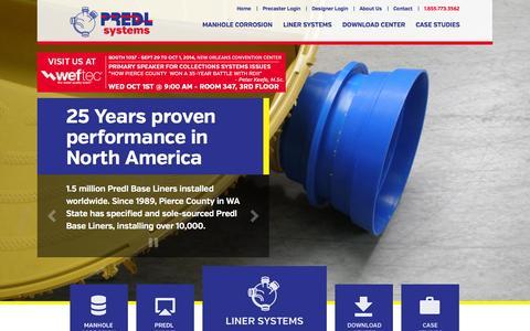 Screenshot of Home Page predlsystems.com - Predl Systems | You design it. PREDL lines it. - captured Oct. 2, 2014