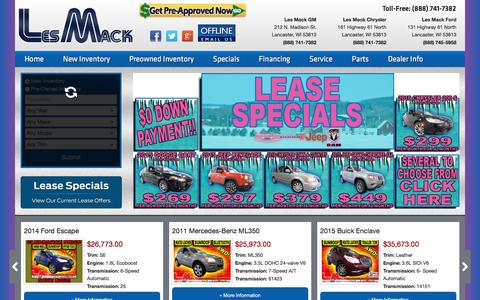 Screenshot of Home Page lesmack.com - Chevrolet Buick Chrysler Dodge RAM Jeep Ford Lancaster | Les Mack Platteville  Mineral Point  Beetown  Boscobel  Lancaster - captured Jan. 14, 2016