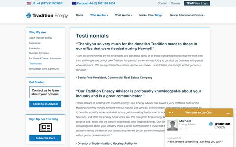 Screenshot of Testimonials Page traditionenergy.com - Tradition Energy Testimonials - captured Nov. 19, 2019