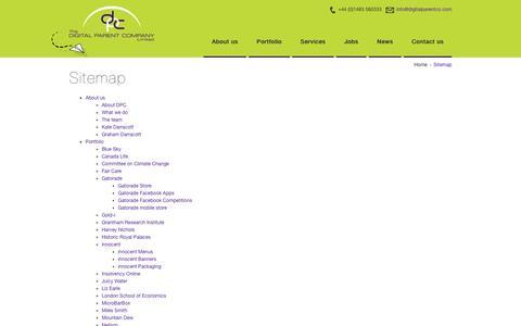 Screenshot of Site Map Page digitalparentco.com - Digital Parent Company Sitemap - captured Feb. 9, 2016