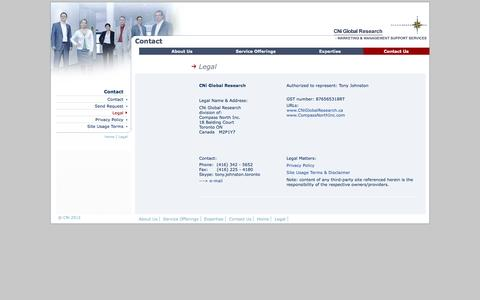 Screenshot of Terms Page cniglobalresearch.ca - Legal Information | CNi Global Research - captured Sept. 26, 2014