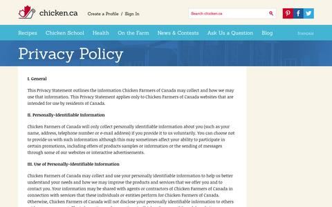 Screenshot of Privacy Page chicken.ca - Privacy Policy » Chicken.ca - captured Sept. 19, 2014