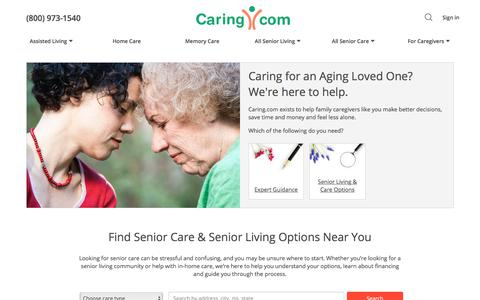 Screenshot of Home Page caring.com - Assisted Living, Senior Living, Home Care and Caregiver Support - captured June 18, 2018