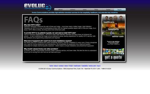 Screenshot of FAQ Page evoluc.com - Evoluc Communications | High Definition Television Service | Hospitals, Hotels, Retirement Homes - captured Oct. 3, 2014