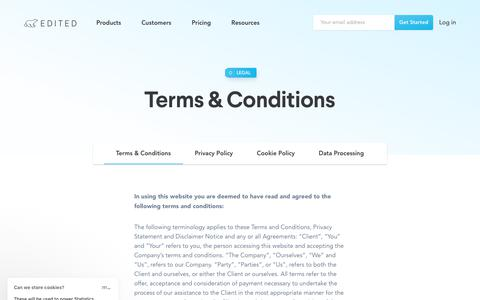 Screenshot of Terms Page edited.com - Terms & Conditions — EDITED - captured Oct. 24, 2019