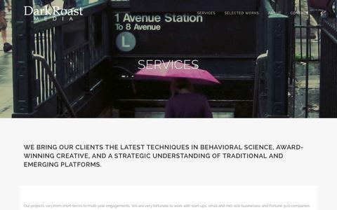 Screenshot of Services Page darkroastmedia.com - Dark Roast Media |   Services - captured Sept. 30, 2014