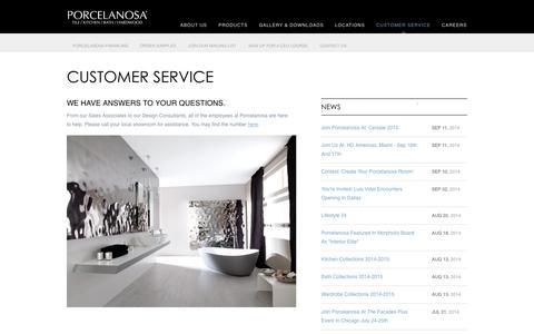 Screenshot of Support Page porcelanosa-usa.com - Customer Service - captured Sept. 23, 2014