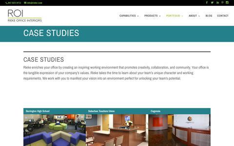 Screenshot of Case Studies Page rieke.com - CASE STUDIES - Rieke Office Interiors - captured Oct. 22, 2017