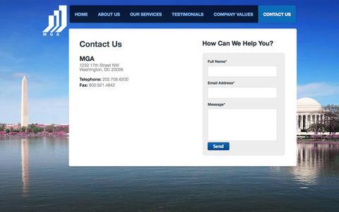 Screenshot of Contact Page mgaco.com - MGA - captured Oct. 3, 2014