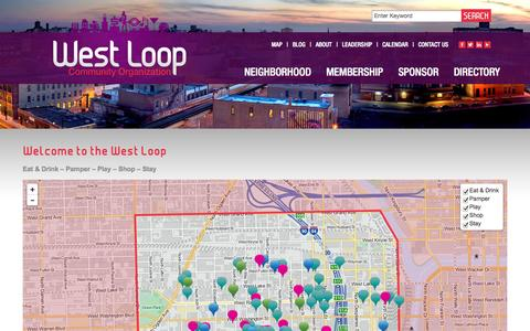 Screenshot of Maps & Directions Page westloop.org - West Loop Community Organization - Chicago, IL - Where to Eat & Drink, Pamper, Play, Shop and Stay in the West Loop - captured Oct. 1, 2014