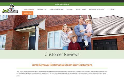 Screenshot of Testimonials Page junkdrs.com - Customer Reviews | Junk Doctor Customer | Junkdrs.com - captured March 23, 2019