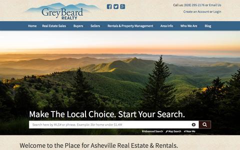 Screenshot of Home Page greybeardrealty.com - Asheville Real Estate | Asheville Cabins & Homes - Greybeard Realty - captured Nov. 10, 2015