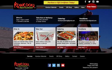Screenshot of Services Page Menu Page kowloonrestaurant.com - Kowloon Restaurant | Services - captured July 3, 2018