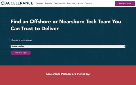 Screenshot of Home Page accelerance.com - Best software outsourcing companies | Fully-investigated | Accelerance - captured July 8, 2019