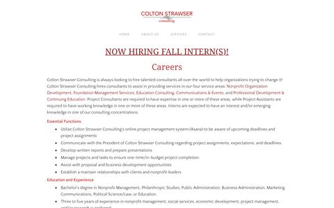 Screenshot of Jobs Page coltonstrawser.com - Careers - Colton Strawser Consulting - captured Aug. 16, 2017