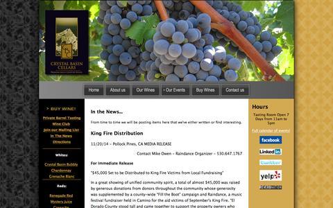 Screenshot of Press Page crystalbasin.com - What's In the News at Crystal Basin Cellars! 3550 Carson Road, Camino, El Dorado County, California - captured Feb. 1, 2016
