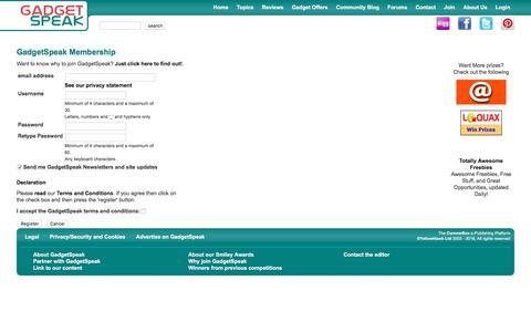 Screenshot of Signup Page gadgetspeak.com - Register New User - captured Sept. 4, 2016