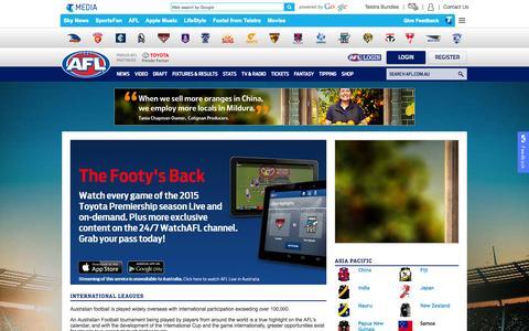 Screenshot of Login Page afl.com.au - AFL Global - AFL.com.au - captured Nov. 2, 2015