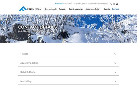 Screenshot of Contact Page skifalls.com.au - Contact Details - captured Sept. 18, 2016