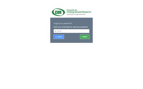 Screenshot of Login Page cur.org - Impexium - captured Nov. 11, 2018