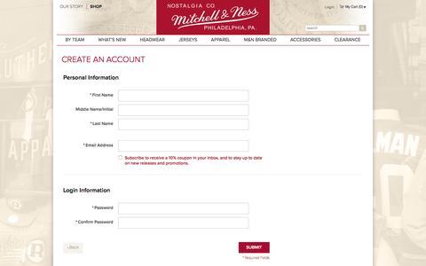 Screenshot of Signup Page mitchellandness.com - Create New Customer Account | Mitchell & Ness - captured Jan. 19, 2016