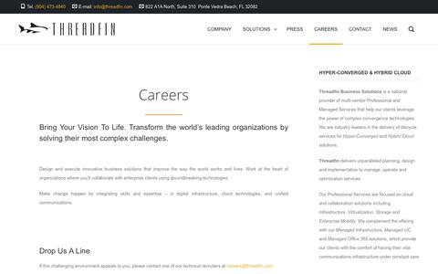 Screenshot of Jobs Page threadfin.com - Careers - Threadfin Business Solutions - captured Nov. 17, 2017
