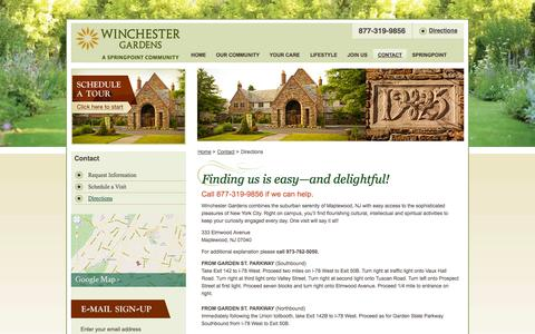Screenshot of Maps & Directions Page winchestergardens.com - Directions | Winchester Gardens - captured Sept. 30, 2014