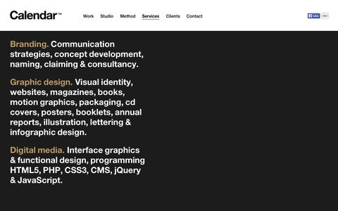 Screenshot of Services Page estudiocalendar.com - Services — Calendar - captured Oct. 1, 2014